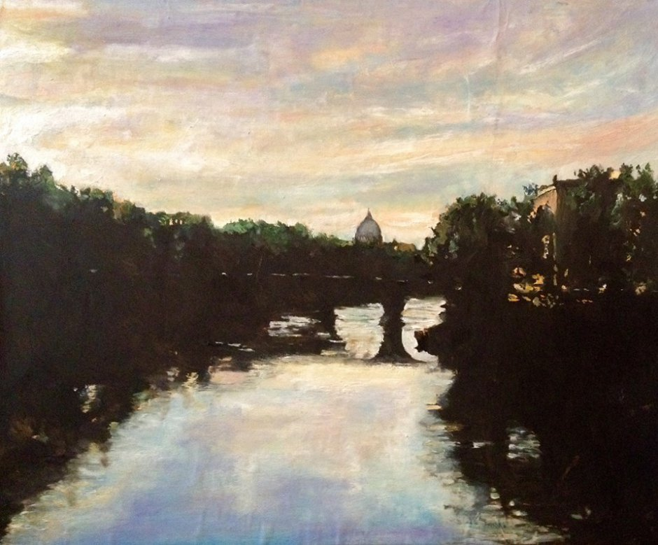Tiber landscape with St Peters Basilica, Rome